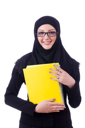 Young muslim woman with book on white Stock Photo - 19674934