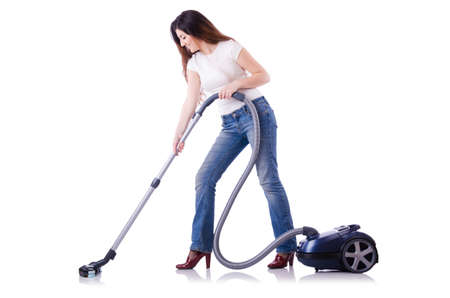 Young woman with vacuum cleaner on white Stock Photo - 19642704
