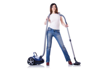 Young woman with vacuum cleaner on white Stock Photo - 19642656