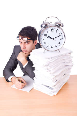 Woman businessman with giant alarm clock Stock Photo - 19674870