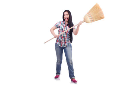 Young woman with broom isolated on white Stock Photo - 19642635