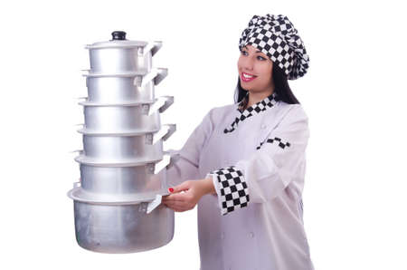 Cook with stack of pots on white Stock Photo - 20258558