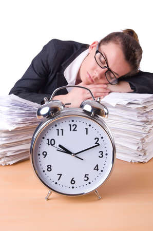 Woman businesswoman with giant alarm clock Stock Photo - 20258585
