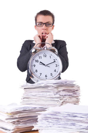 Woman businesswoman with giant alarm clock Stock Photo - 20258576