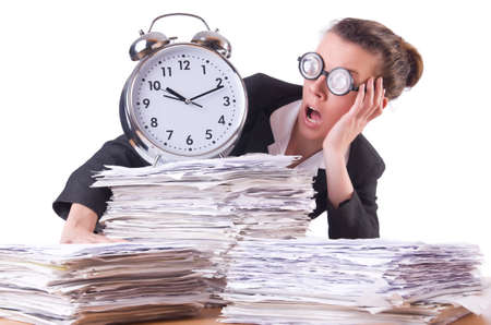 Woman businesswoman with giant alarm clock Stock Photo - 20258594