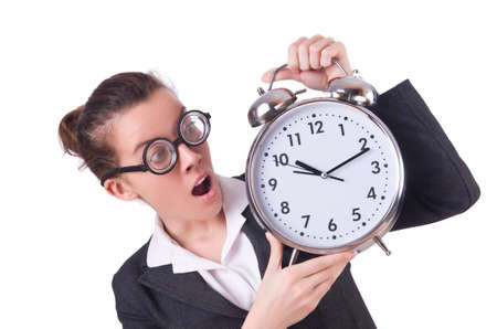 Woman businesswoman with giant alarm clock Stock Photo - 20258580