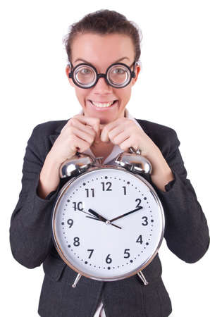 Woman businesswoman with giant alarm clock Stock Photo - 20258599
