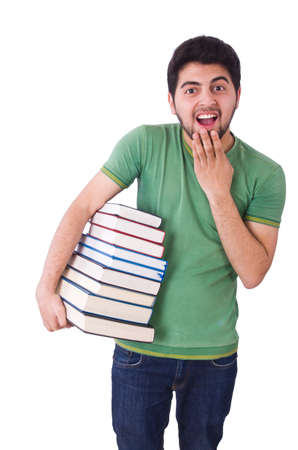 Student with lots of books on white Stock Photo - 19674898