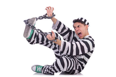 Funny convict isolated on the white photo