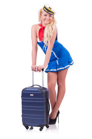 Woman travel attendant with suitcase on white Stock Photo - 20258551