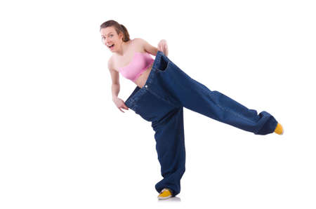 Woman in dieting concept with big jeans Stock Photo - 19642647