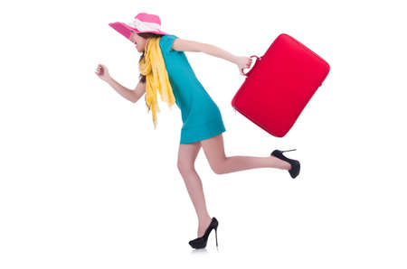 Young woman preparing for vacation photo