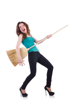 Young woman with broom isolated on white Stock Photo - 20083295