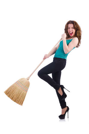 Young woman with broom isolated on white Stock Photo - 20083292