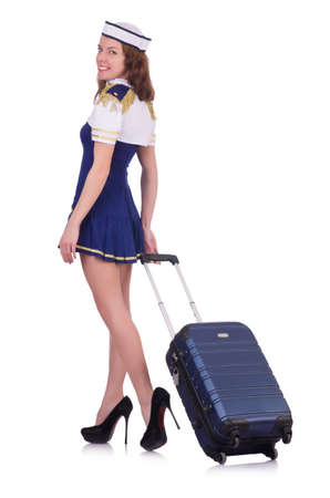 Woman travel attendant with suitcase on white Stock Photo - 20083317