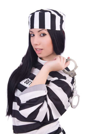 Prisoner in striped uniform on white Stock Photo - 20083377
