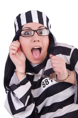 Prisoner in striped uniform on white Stock Photo - 21058373