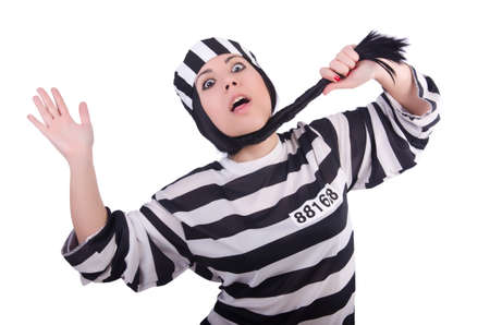 Prisoner in striped uniform on white Stock Photo - 21058381