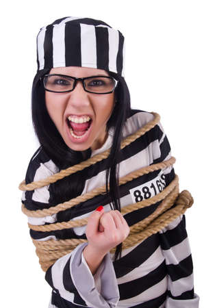 Prisoner in striped uniform on white Stock Photo - 20258597