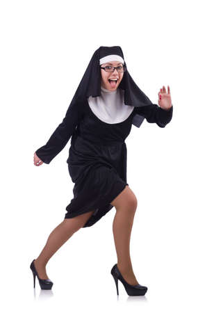 Funny nun isolated on the white photo