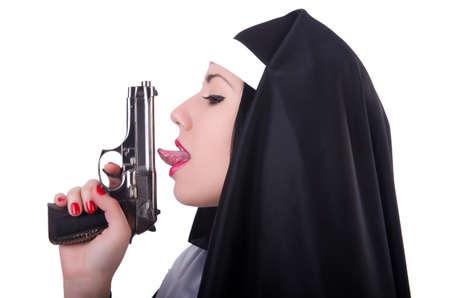 Nun with gun isolated on the white Stock Photo - 19674743