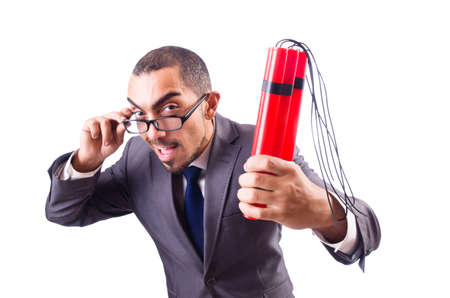 Businessman with dynamite isolated on white Stock Photo - 19674548