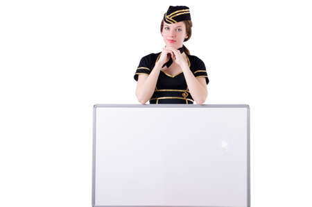 Stewardess with blank board on white photo