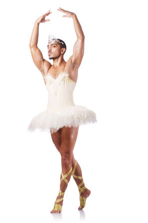Muscular ballet performer in funny concept photo