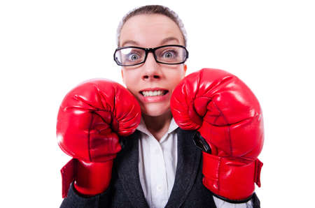 Woman with boxing gloves on white Stock Photo - 20083378