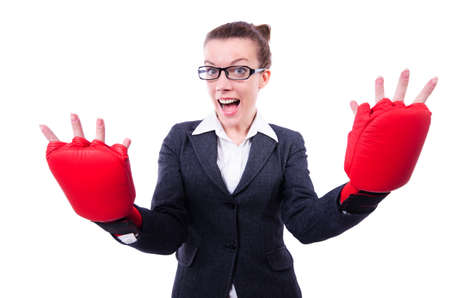 Woman with boxing gloves on white Stock Photo - 20083366