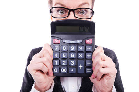 Funny accountant with calculator on white photo