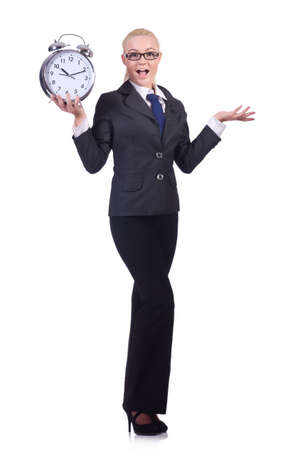 Woman with giant clock on white photo
