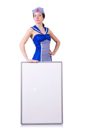 Stewardess with blank board on white Stock Photo - 19642706