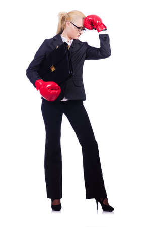 Woman businesswoman with boxing gloves on white photo
