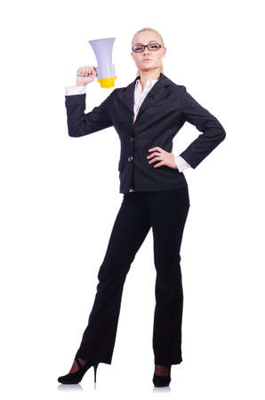 Woman businesswoman with loudspeaker on white photo