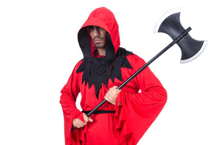 ax man: Executioner in red costume with axe on white Stock Photo