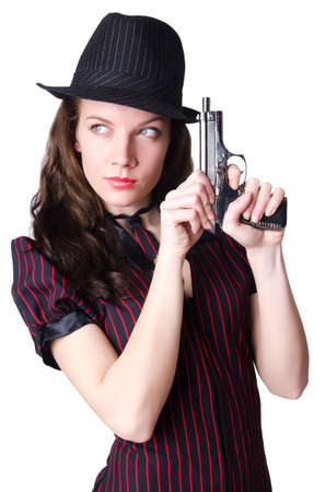 Woman gangster with handgun on white photo