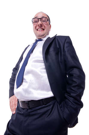 Funny businessman isolated on white Stock Photo - 20083380