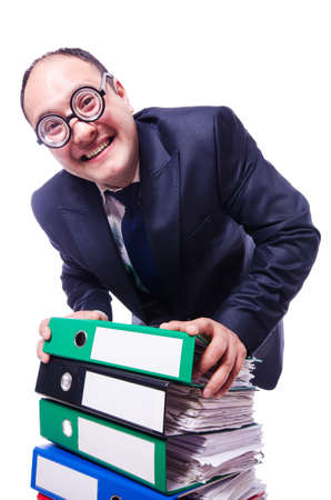 Funny man with lots of folders on white Stock Photo - 20081145