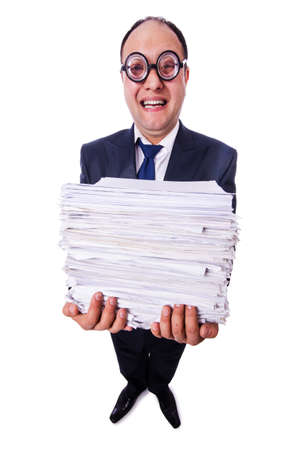 Funny man with lots of folders on white Stock Photo - 20081101