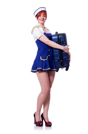 Woman travel attendant with suitcase on white Stock Photo - 20081054