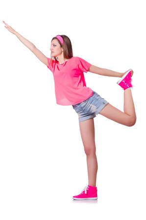 Young woman doing exercises on white Stock Photo - 20102460