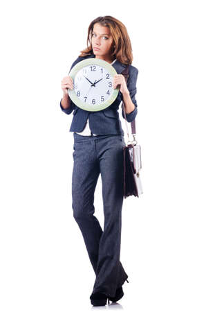 Woman with clock isolated on white Stock Photo - 20082932