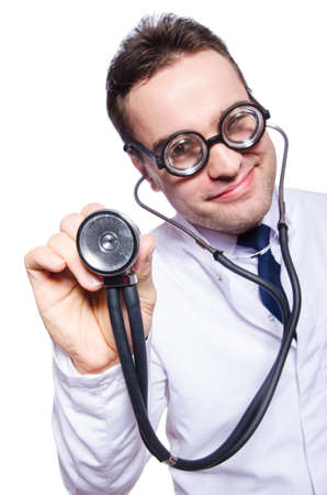funny doctor: Funny doctor isolated on the white