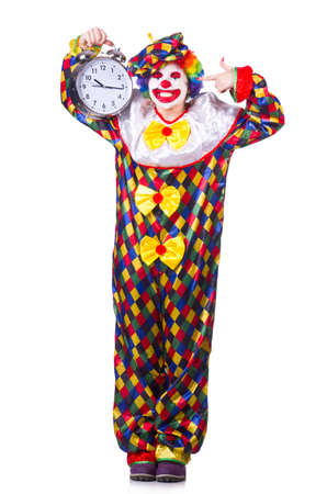 Clown with clock on white photo