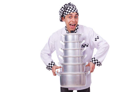 Cook with stack of pots on white Stock Photo - 20083423