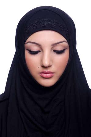 Mujer joven musulmán hiyab en blanco Foto de archivo