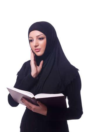 arab girl: Muslim young woman wearing hijab on white