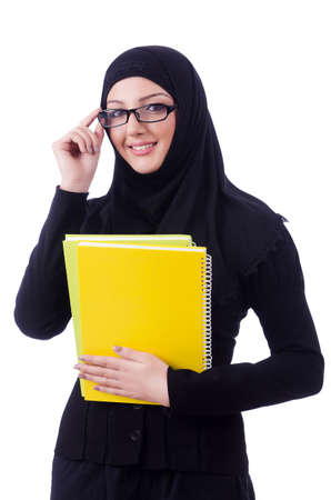 girl in dress: Young muslim woman with book on white