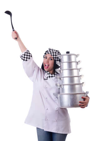 Cook with stack of pots on white Stock Photo - 20083430